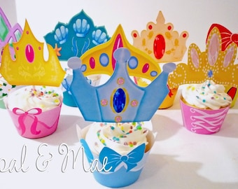 Princess Instant download Printable Party Cupcake Toppers and  Wrappers
