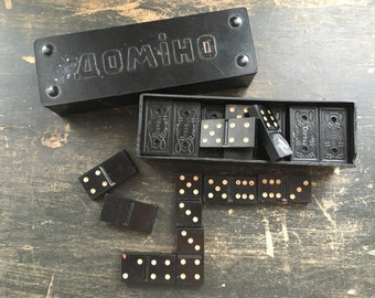 Vintage Soviet Dominoes Double Six Made in USSR Vintage dominoes supplies White black dominoes