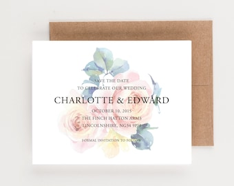 English Tea Roses Save The Date, UK England Destination Wedding