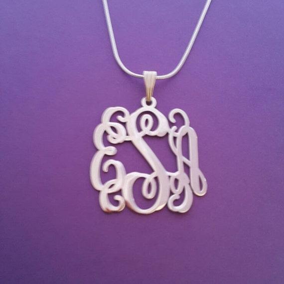monogrammed necklace white gold monogram necklace monagram. Black Bedroom Furniture Sets. Home Design Ideas