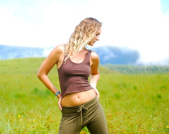 Eco Friendly Cropped Tank Top - Crop Top - Organic Cotton Soy Spandex Jersey - Organic Clothing -  Several Colors