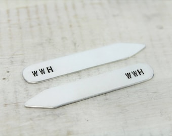 Collar Stays- Groomsmen Gifts- Personalized Collar Stay- One Pair- Gifts for Him- Personalized