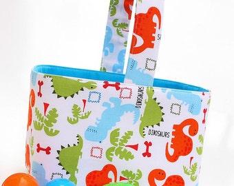 Easter Basket - Candy Bucket - Storage Bin - Boys - Colorful Dinosaurs