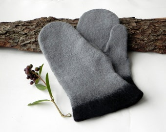 Felted gloves - Gray black wool gloves -  Felted mittens - Warm gloves arm warmers Winter accessory merino wool Great Christmas gift