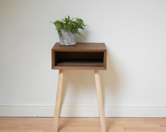 Bedside Table | Retro Mid-century Walnut Scandinavian Style Night Stand | Vintage Bedroom Furniture | Eames Style Bed Side Table
