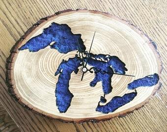 Great Lakes Clock Wood Burning/Wood Carving