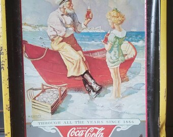 Vintage Coca Cola Tray, Sea Captain, 50th Anniversary, Advertising, Memorabilia, Collectible, Home Decor
