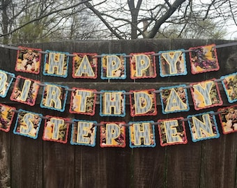 Made to Order Happy Birthday Custom Banner - 2.50 (and up) per letter panel - Please read entire listing, thank you!