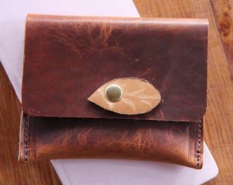 Small Leaf Wallet, Dublin English Tan, Leather Wallet, Small Wallet, Rustic Wallet, Distressed Leather