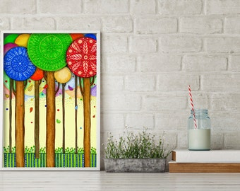 """Original Drawing - Abstract Expressionist Colorful Trees - 8.5x12"""" up to 24x34"""" Art Print, Wall Decor, Illustration"""