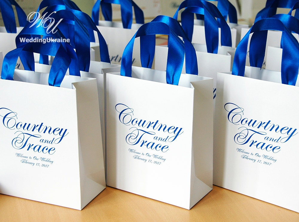 25 Wedding Welcome Bags With Royal Blue Satin Ribbon And Names
