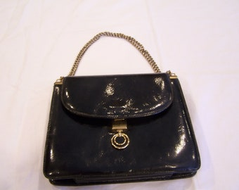 Magda Makkay black vintage purse, chain strap, accordian pleats, c. 1960s