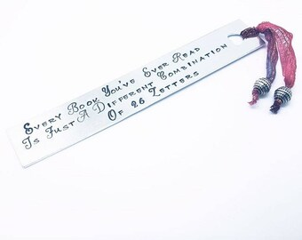BOOKMARK.READING.BOOKWORM. Handstamped.Aluminum. Book Lover. Gift.