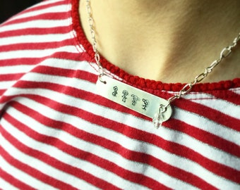 custom bar necklace, personalized stick figure necklace, Personalized family necklace, personalized jewelry, hand stamped family necklace
