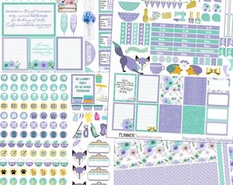 Planner Kit! Lavender Mint Printable Planner Stickers Kit.  EC & Happy Planner Purple and Green Foxes, Hedgehog Weekend banner