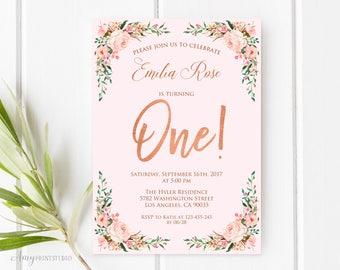 1st Birthday Invitation, Floral First Birthday Invitation, Girl Birthday Invitation, Blush Pink, PERSONALIZED, Digital file, #K02