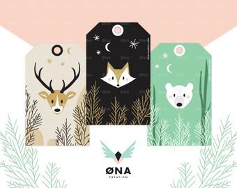 Printable, 3 Etiquettes cadeaux Animaux de la forêt | Étiquettes à imprimer | DIY | Téléchargement immédiat | Fait main | Renard, ours, cerf