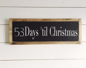 Days to Christmas sign, Countdown to Christmas, Chalkboard Christmas Sign