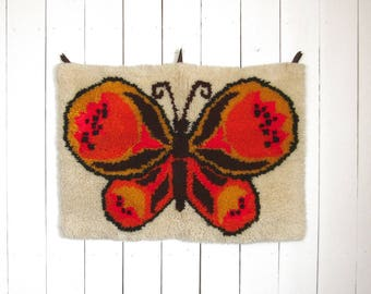 Butterfly Wall Hanging 60s Retro Latch Rug  Vintage Decor Orange Beige Black Hippie Boho Art