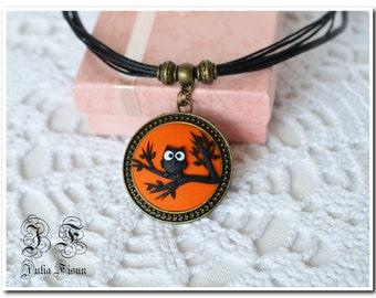 Owl  Pendant Orange owl Handmade Necklace Applique Jewelry Halloween jewelry Polymer Clay  Pendant Applique jewelry Applique pendant