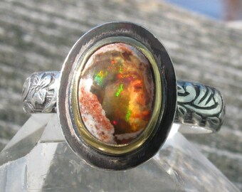 Fire Opal Ring - 22K gold and Sterling Silver Mexican Fire Opal ring - US size 6 3/4 - silver and gold Mexican Boulder Opal ring - size 6.75