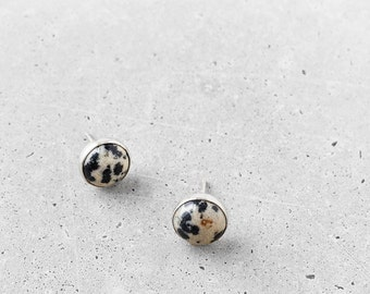 Dalmatian Jasper Studs / sterling silver / small polkadot natural stone circle earrings