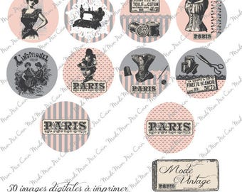"""Digital images for cabochons """"RETRO VINTAGE"""" (50 images) to cut and stick on your creations"""