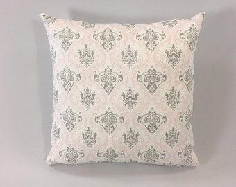 Pink Grey Pillow Cover - Madison Bella/Storm Print - Decorative Throw Pillow Cover -  Designer Pillow Cover - Custom Sizes - Hidden Zipper