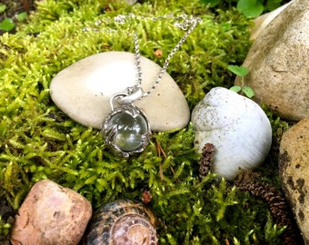 "Primitive Pendant ""Sibyl"" - Quartz Sphere and Sterling Silver"