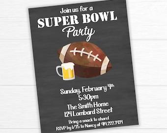Super Bowl Invitation, Football Party Invitation, Superbowl Party Invite, Game Day Invitation, Super Bowl Party