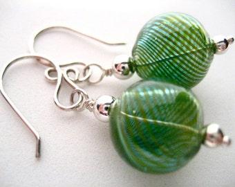 Green Striped Blown Glass Globe Sterling Silver Earrings