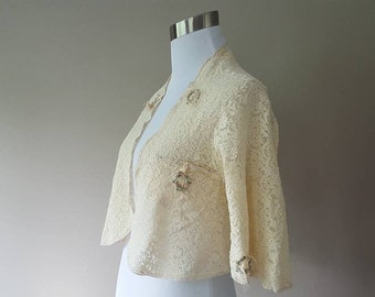 S / Antique Lace Bed Jacket / Small