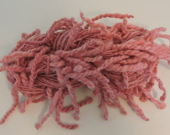 Hand Spun Art Yarn With Lamb's Tail in Kid Mohair Merino Pink Mauve 18-5-15