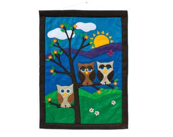 Little Owl Wall Hanging - Family of Three done in Appliquéd Eco-Felt Large Banner