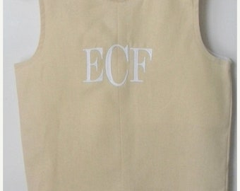 SALE 50% OFF Linen Jon Jon Shortall Personalized Monogrammed-Tan
