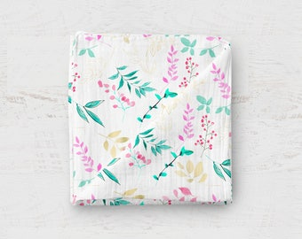 Spring Leaves Swaddle Blanket, 34 by 54 inches HUGE organic muslin swaddle blanket, Gold Leaves, mint, pink, baby swaddle