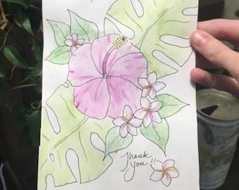 Hibiscus and Plumeria Card