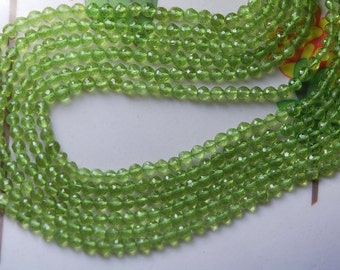 14 Inch Strand, Super Finest Natural Peridot Micro Faceted Round Rondelles, 3.5mm