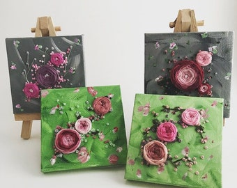 Pink Roses Set || Miniature Canvas Art || Hand Embroidery on Painting || Home Decor, Office Art || Spring Flowers, Floral Art Gift