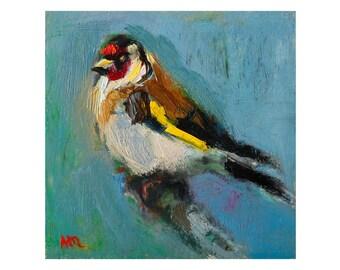 Goldfinch Bird - Original Oil Painting Miniature Art Impasto Thick Nature Animals Paintings Birds Wall Decor Small Bright Oils Square Vivid