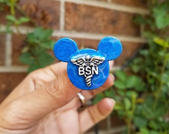 Men's Mickey mouse Nursing pins! Fun, unique ceremony pins Wooden Mickey mouse Graduation pins! Customize degree and colors! Custom pins