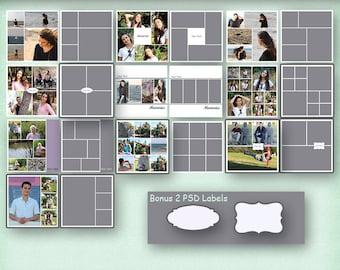 12x12 Photo Album Template Pack, 10 Templates, Photo Collage, Yearbook Templates, Photoshop Templates, Photo Template, Scrapbook Templates