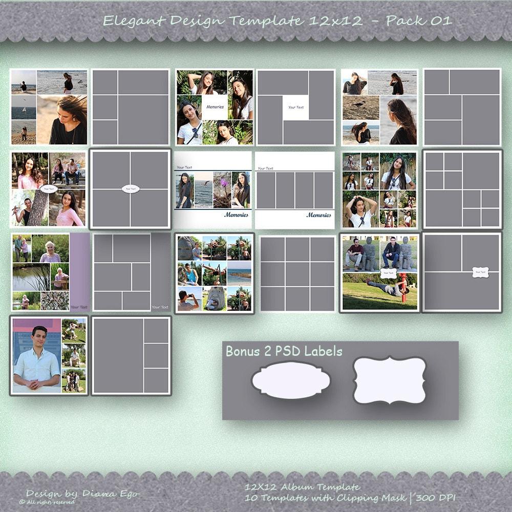 12 x 12 Foto Album Template Pack 10 Vorlagen Foto-Collage
