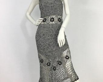Boho crochet dress/vintage crochet dress/crochet midi dress