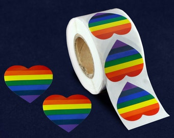 500 Rainbow Heart Stickers (DST-RB2)