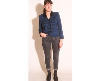 Vintage 1980s Women's Navy Blue and Velvet Black Ringmaster Band  Blazer Jacket size 10 Petite