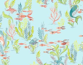 Mermaid Fabric - At the Bottom of the Sea Light Blue - Mermaid Days - Cori Dantini - Blend Fabrics - One Yard