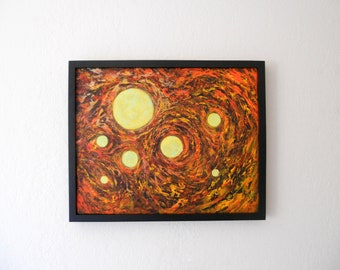 Original acrylic painting on stretched canvas, framed painting, ready to hang, 16 x 20
