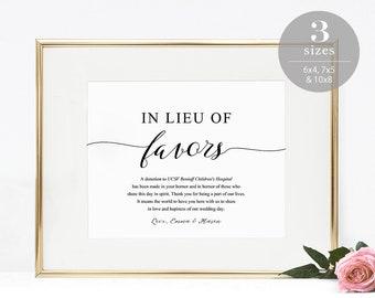 In Lieu of Favors Sign, Wedding Donation Card Template, Printable Wedding Sign, Modern Elegant Wedding, PDF Instant Download #SPP007ilf