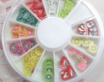 Assorted Polymer Clay Fruit  Slices, Nail Art Wheel, Over 120 pieces